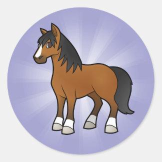 Cartoon Horse Round Sticker