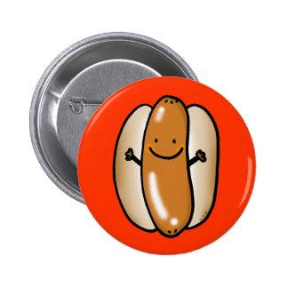 cartoon hot dog sausage 6 cm round badge