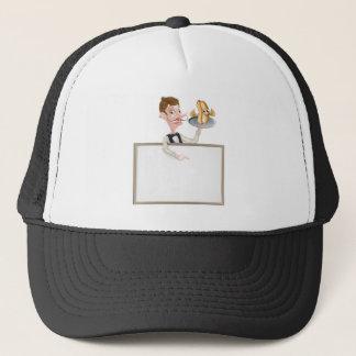 Cartoon Hotdog Waiter Butler Signboard Trucker Hat