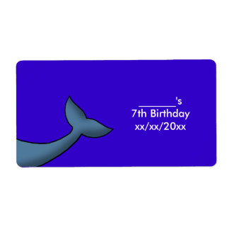 Cartoon Humpback Whale Tail Wine or Water Bottle