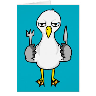 Cartoon Hungry Seagull Card