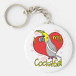 Cartoon I Love my Cockatiel Keychain