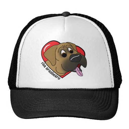 Cartoon I Love my Fila Brasileiro Mesh Hats