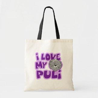 Cartoon I Love My White Puli Tote Bag