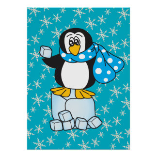 Cartoon Ice Cube Winter Penguin Poster