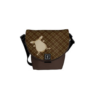 Cartoon illustration brown plaid commuter bag