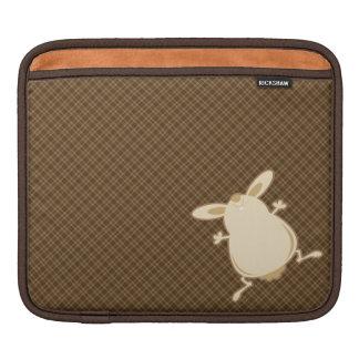 Cartoon illustration brown plaid iPad sleeve