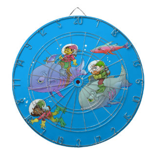 Cartoon illustration Gnomes and there fish friends Dartboard