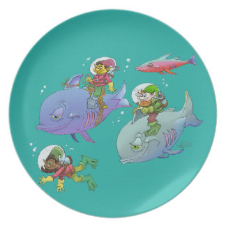 Cartoon illustration Gnomes and there fish friends Party Plates