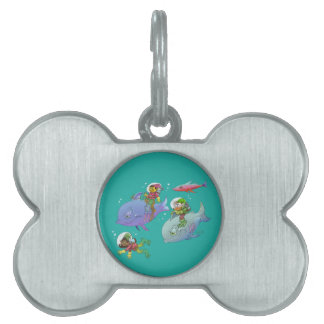 Cartoon illustration Gnomes and there fish friends Pet Name Tag