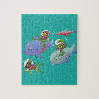 Cartoon illustration Gnomes and there fish friends Puzzle