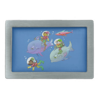 Cartoon illustration Gnomes and there fish friends Rectangular Belt Buckles