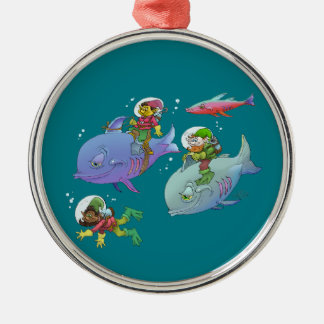 Cartoon illustration Gnomes and there fish friends Silver-Colored Round Decoration