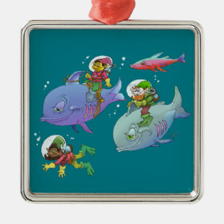 Cartoon illustration Gnomes and there fish friends Silver-Colored Square Decoration
