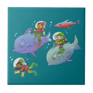 Cartoon illustration Gnomes and there fish friends Small Square Tile
