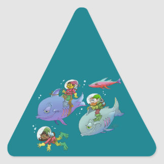 Cartoon illustration Gnomes and there fish friends Triangle Sticker