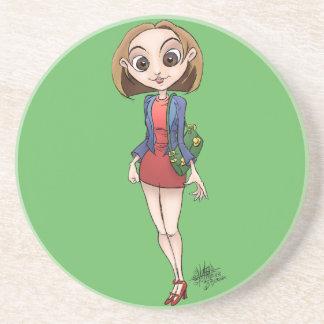 Cartoon illustration of a beautiful Asian woman. Beverage Coaster