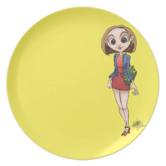 Cartoon illustration of a beautiful Asian woman. Party Plates