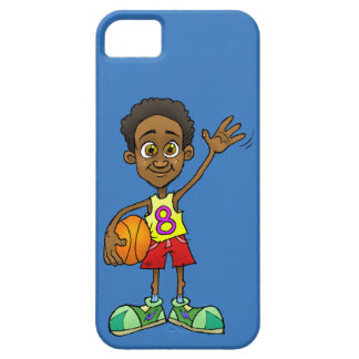 Cartoon illustration of a boy holding a ball. case for the iPhone 5