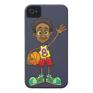 Cartoon illustration of a boy holding a ball. iPhone 4 cases