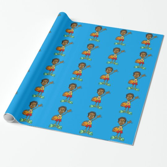 Cartoon illustration of a boy holding a ball. wrapping paper