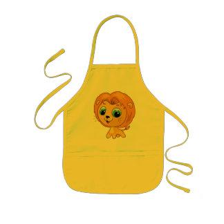 Cartoon illustration of a cute lion kids apron