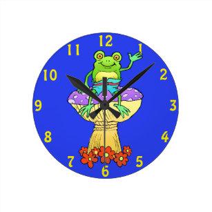 Cartoon Frog Wall Clocks Zazzle Uk