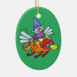 Cartoon illustration of a gnome riding an bee. ceramic oval decoration