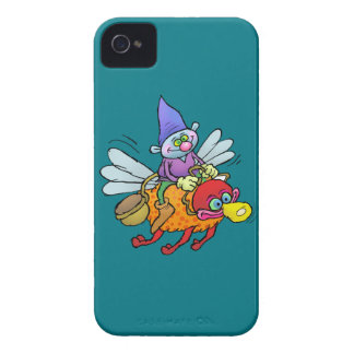Cartoon illustration of a gnome riding an bee. iPhone 4 Case-Mate case