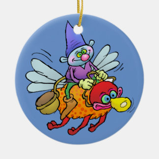 Cartoon illustration of a gnome riding an bee. round ceramic decoration