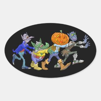 Cartoon illustration of a Halloween congo. Oval Sticker