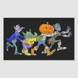 Cartoon illustration of a Halloween congo. Rectangular Sticker