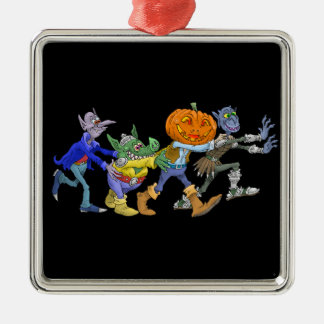 Cartoon illustration of a Halloween congo. Silver-Colored Square Decoration
