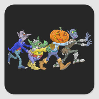 Cartoon illustration of a Halloween congo. Square Sticker