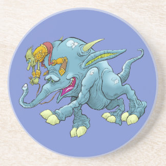 Cartoon illustration, of a running creature. beverage coasters