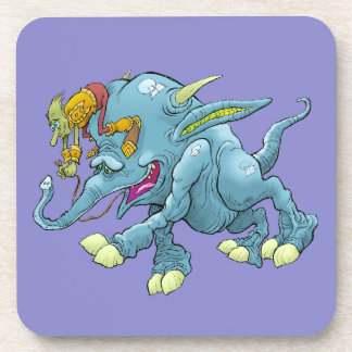 Cartoon illustration, of a running creature. drink coasters