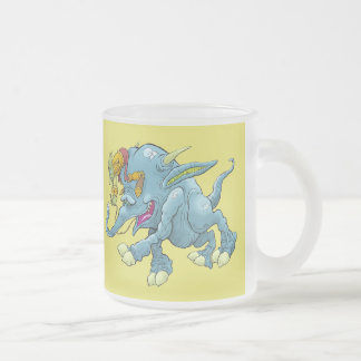 Cartoon illustration, of a running creature. frosted glass coffee mug