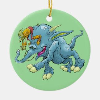 Cartoon illustration, of a running creature. round ceramic decoration