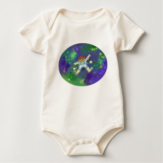 Cartoon illustration, of a space gnome, creeper. baby bodysuit