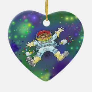 Cartoon illustration, of a space gnome, decoration ceramic heart decoration