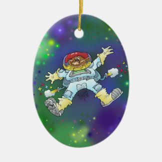 Cartoon illustration, of a space gnome, decoration ceramic oval decoration