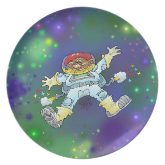 Cartoon illustration, of a space gnome, plates. plates