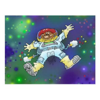 Cartoon illustration, of a space gnome, postcard. postcard