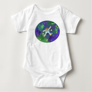 Cartoon illustration, of a space gnome, t-shirt. baby bodysuit