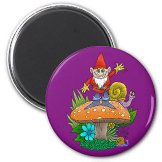 Cartoon illustration of a standing waving gnome. 6 cm round magnet