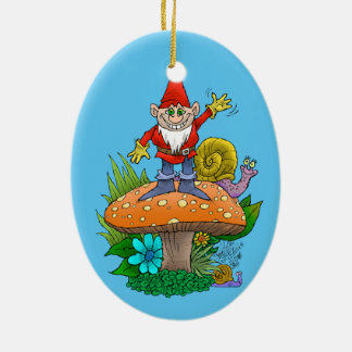Cartoon illustration of a standing waving gnome. ceramic oval decoration