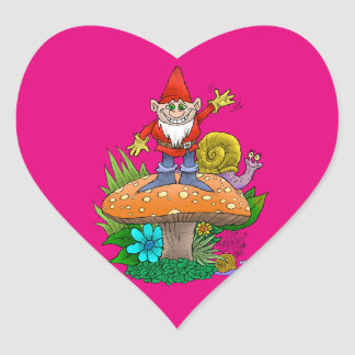 Cartoon illustration of a standing waving gnome. heart sticker