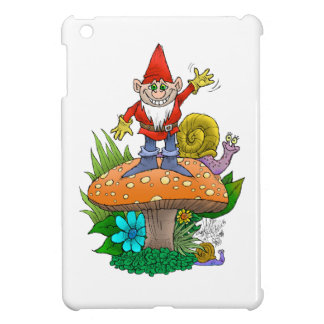 Cartoon illustration of a standing waving gnome. iPad mini case