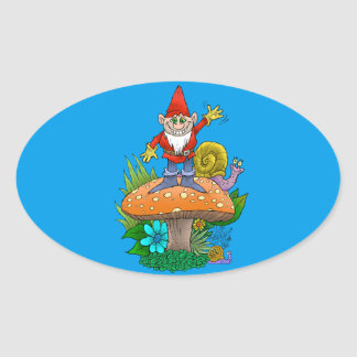 Cartoon illustration of a standing waving gnome. oval sticker