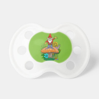 Cartoon illustration of a standing waving gnome. pacifiers
